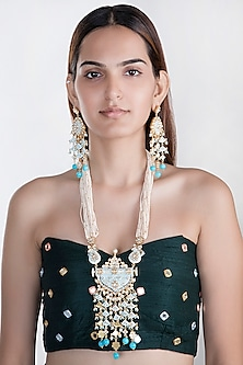 Gold Plated Meenakari Pendant Necklace Set by Riana Jewellery