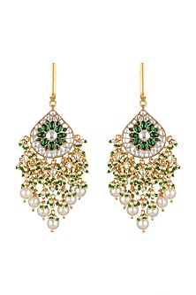 Gold Plated Pearl Baali Earrings by Riana Jewellery