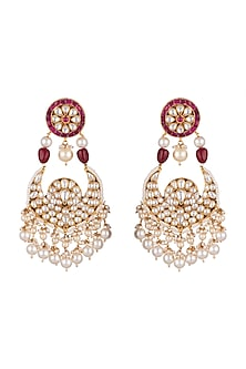 Gold Plated Pearl Chandbali Earrings by Riana Jewellery