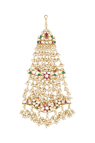 Gold Plated Pearl & Jadtar Stone Passa by Riana Jewellery