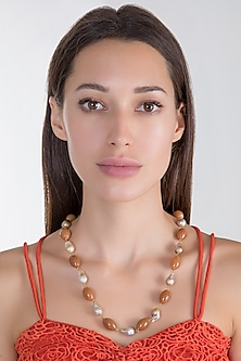 Gold Plated Coral Colored Mala Necklace by Riana Jewellery