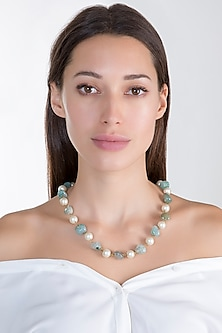 Gold Plated Sea Green & White Mala Necklace by Riana Jewellery
