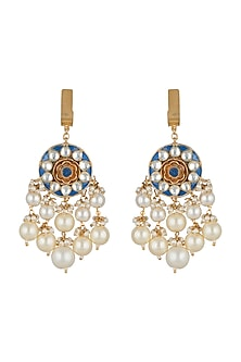 Gold Plated Blue Earrings With Pearl Hangings by Riana Jewellery