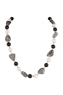 Gold Plated Grey & Black Mala Necklace by Riana Jewellery
