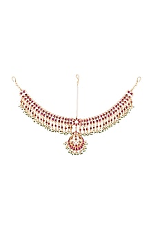 Gold Plated Pink & White Jadtar Mathapatti by Riana Jewellery
