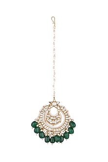 Gold Plated Jadtar Stone Maang Tikka by Riana Jewellery