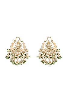 Gold Plated Pearl & Jadtar Stone Earrings by Riana Jewellery