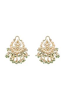 Gold Plated Pearl & Jadtar Stone Earrings by Riana Jewellery