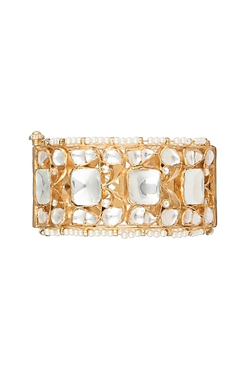 Gold Plated Jadtar Stone & Pearl Bangle by Riana Jewellery