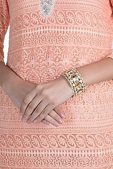 Gold Plated Jadtar Stone & Pearl Bangle by Riana Jewellery