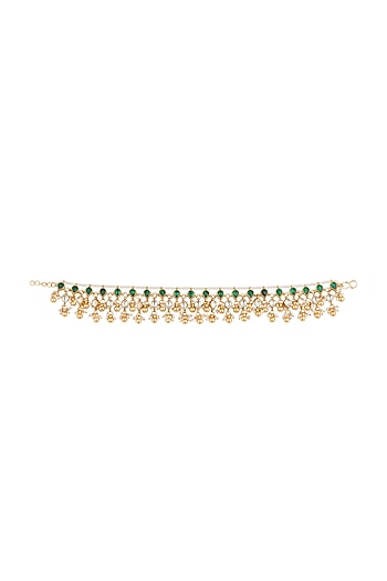 Gold Plated Jadtar Stone & Pearl Maang Anklets by Riana Jewellery