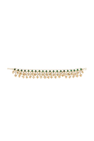 Gold Plated Jadtar Stone & Pearl Anklets by Riana Jewellery