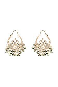 Gold Plated Stone & Pearl Bali Earrings by Riana Jewellery