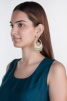 Gold Plated Stone & Pearl Bali Earrings by Riana Jewellery