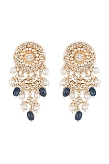 Gold Plated Stone & Pearl Stud Earrings by Riana Jewellery