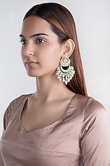 Gold Plated Jadtar Stone Chand Earrings by Riana Jewellery