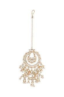 Gold Plated Bead & Pearl Maang Tikka by Riana Jewellery