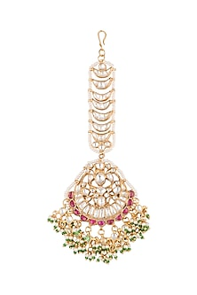 Gold Plated Jadtar Stone Bridal Maang Tikka by Riana Jewellery