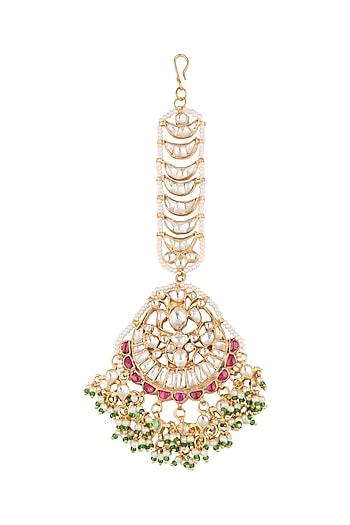 Gold Plated Jadtar Stone Bridal Maang Tikka by Riana Jewellery