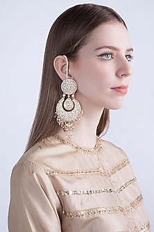 Gold Plated Jadtar Stone Earrings With Chain by Riana Jewellery