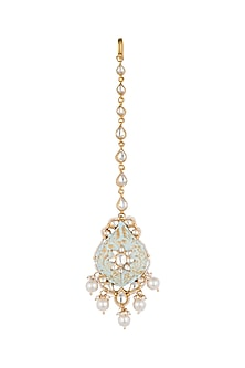 Gold Plated Meenakari Beaded Maang Tikka by Riana Jewellery