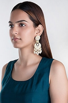 Gold Plated Layered Pearl Earrings by Riana Jewellery