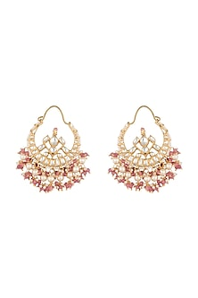 Gold Plated Pastel Pink Pearl Bali Earrings by Riana Jewellery