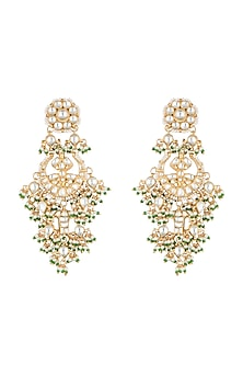 Gold Plated Three Layered Chandbali Earrings by Riana Jewellery