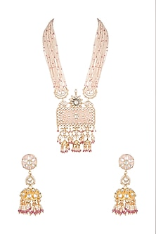 Gold Plated Pearl & Bead Pendant Necklace Set by Riana Jewellery