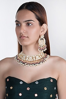 Gold Plated Jadtar Stone Bridal Choker Necklace Set by Riana Jewellery