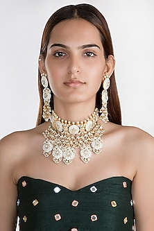 Gold Plated Meenakari Choker Necklace by Riana Jewellery