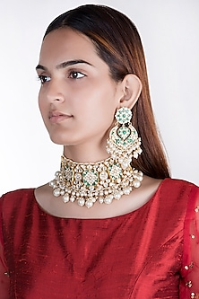Gold Plated Layered Pearl Choker Necklace Set by Riana Jewellery