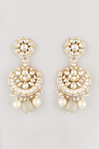 Gold Plated Chandbali Earring by Riana Jewellery