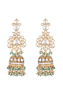 Gold Plated Jhumka Earrings by Riana Jewellery