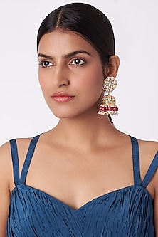 Gold Plated Ruby Jhumka Earrings by Riana Jewellery