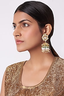 Gold Plated Pearls & Emerald Jhumka Earrings by Riana Jewellery