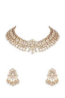 Gold Plated Yellow Stone Necklace Set by Riana Jewellery