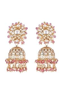 Gold Plated Beads & Pearl Jhumka Earrings by Riana Jewellery