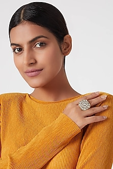 Gold Plated White Jadtar Stone Ring by Riana Jewellery
