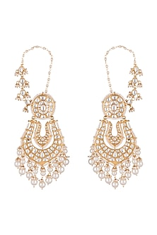 Gold Plated Pearl Earrings With Ear Chain by Riana Jewellery