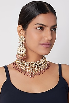Gold Plated Pink Beads Necklace Set by Riana Jewellery