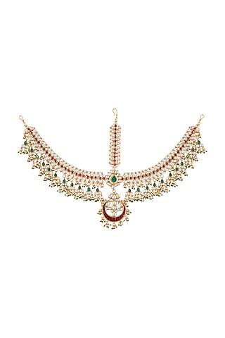 Gold Plated Pearl & Emerald Matha Patti by Riana Jewellery
