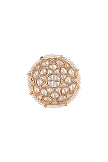 Gold Plated Jadtar Stone Ring by Riana Jewellery