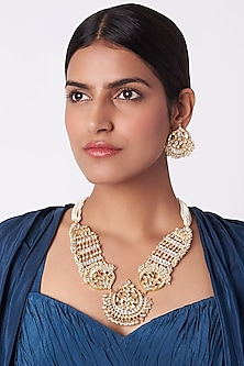 Gold Plated Stone & Pearl Necklace Set by Riana Jewellery