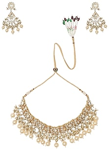 Gold Plated Kundan Stones and Pearl Choker Necklace with Earrings and Maangtika by Riana Jewellery