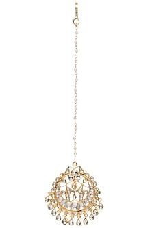 Gold Plated Kundan Stones Crescent Maangtika by Riana Jewellery