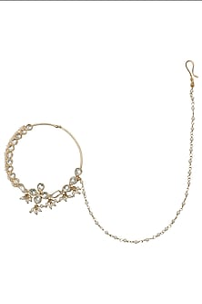 Gold Plated Floral Kundan and Pearls Nose Ring by Riana Jewellery