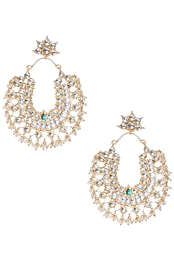 Gold Plated Kundan Stone and Pearl Bunch Earrings by Riana Jewellery