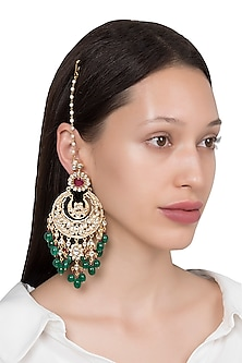Gold Plated Kundan Stone and Pearl Earrings by Riana Jewellery