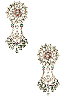 Gold Plated Kundan Stone and White and Green Pearl Earrings by Riana Jewellery
